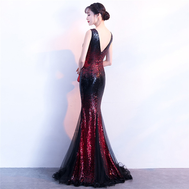 It's Yiiya Evening dress Sequined Zipper back V-neck Trumpet Party Gowns Sexy Floor-length sleeveless Mermaid Prom dresses C135