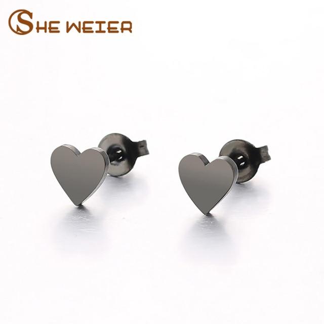 She Weier Heart Earring Studs Earrings Black For Women Brincos Earing Female Fashion Jewelry Small Korean