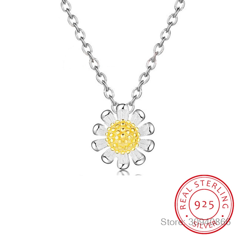 Free Shipping 925 Sterling Silver Pendants&Necklaces Daisy Flower Necklace Jewelry Collar Colar De Plata