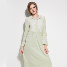 Light Green Velvet Sleepwear Female Autumn Winter Long-Sleeve Princess Nightdress Sweet Lace Woman Nightgowns D171005