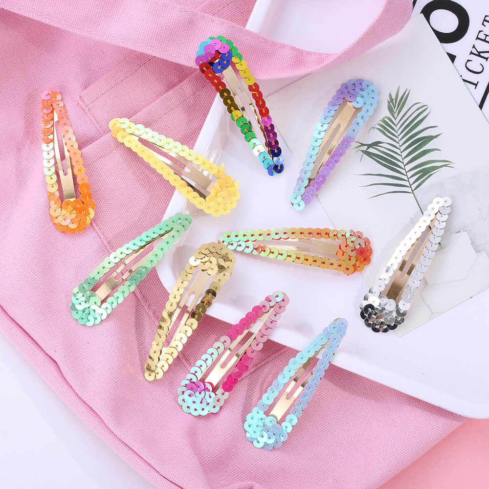 1Pcs 8cm Mermaid Sequins Hair Clips Girls Shiny BB Hairpins Korea Japan Barrettes Children Hairgrips Women Hair Styling Accessor