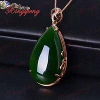 18 k oro rosa con 100% naturale Jasper ciondolo Spinaci è verde Semplice e facile gioielleria Con diamante