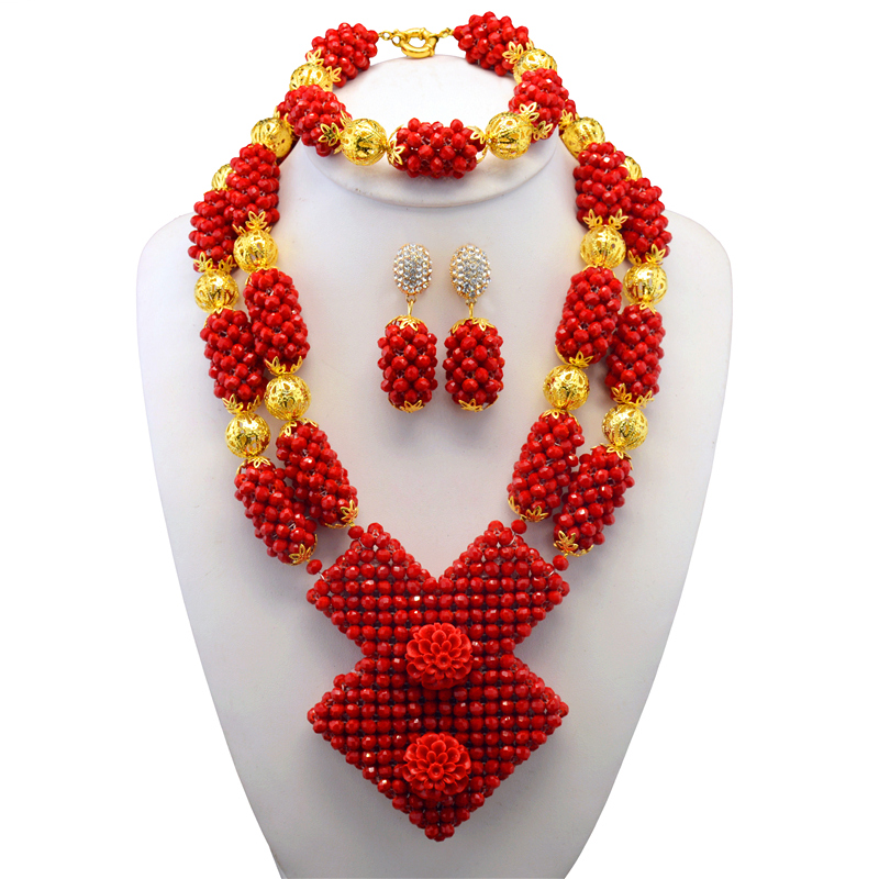 Fabulous Red Crystal African Wedding Beads Jewelry Set Original Traditional African Nigerian Crystal Bead Necklace SetFabulous Red Crystal African Wedding Beads Jewelry Set Original Traditional African Nigerian Crystal Bead Necklace Set