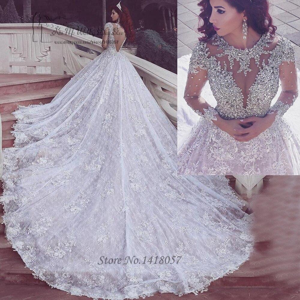 Vestidos De Noiva De Luxo Arabic Bridal Dresses 2017 Lace