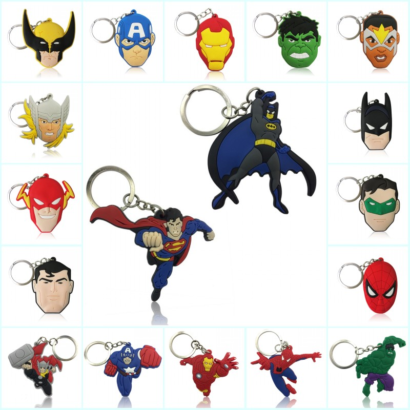 Hot Sell Mixed 100PCS Avengers Superhero PVC Keychain Keyrings Kids Gift Party Favors Key Covers Bag