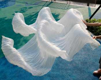 2018 female high quality Chinese silk veils dance fans Pair of belly dancing fans cheap hot sale white