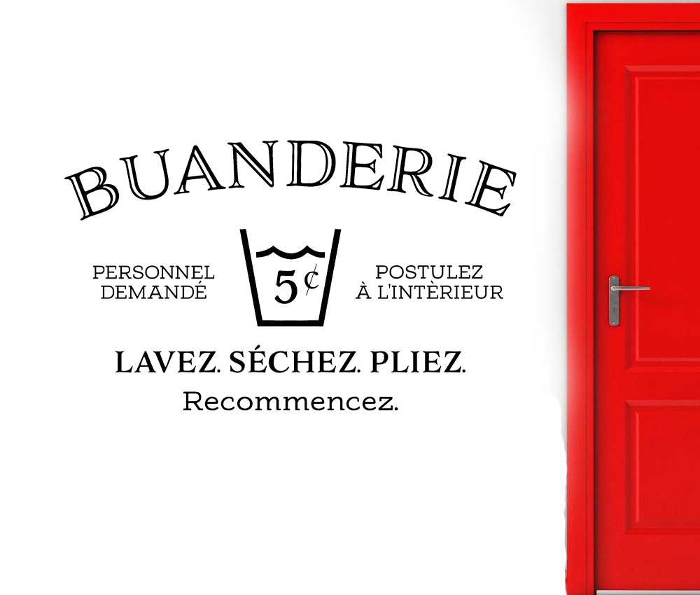 Buanderie French Wall Decal for Laundry Room Utility Room Decoration Wash Dry Fold Repeat Sign Door Wall Decal Removable D669(China)