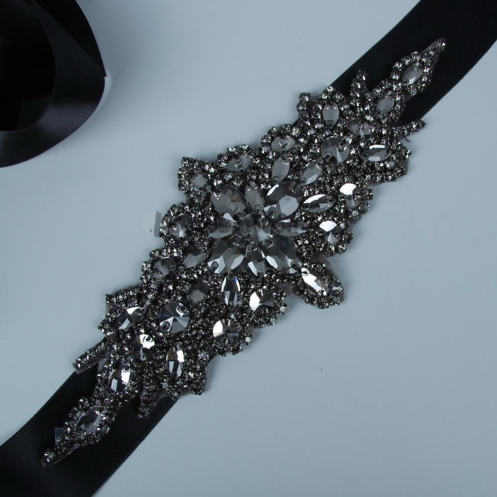 Elegant Black Bridal Belt  Luxury Bridal Wedding Belt Handmade Rhinestone Crystal Sashes For Evening Party