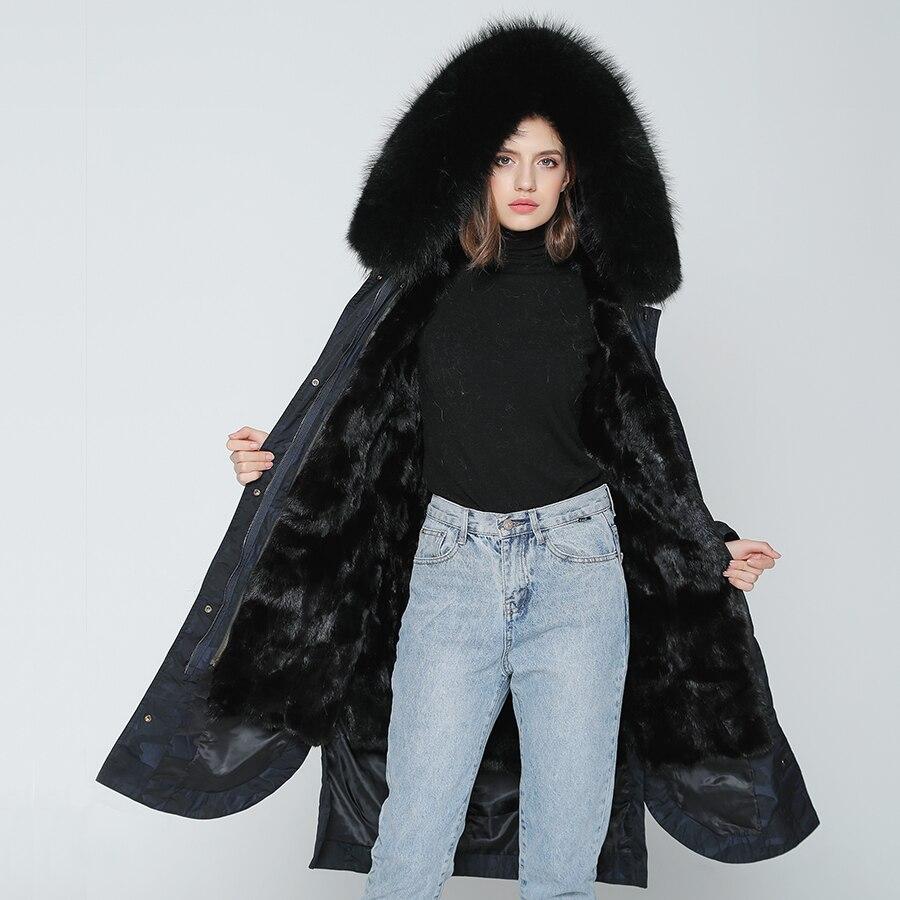 OFTBUY 2019 ขนสัตว์จริง X   ลวงตายาว Parka ฤดูหนาวแจ็คเก็ตผู้หญิงธรรมชาติ Raccoon ขนสัตว์ Hood จริง mink Fur Liner-ใน ขนสัตว์จริง จาก เสื้อผ้าสตรี บน   2
