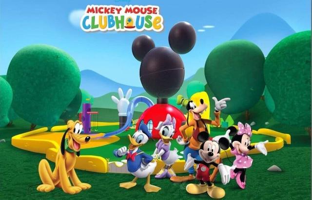 7x5ft Mickey Minnie Mouse Green Clubhouse Park Custom Photo Studio Background Backdrop Vinyl 220cm x 150cm