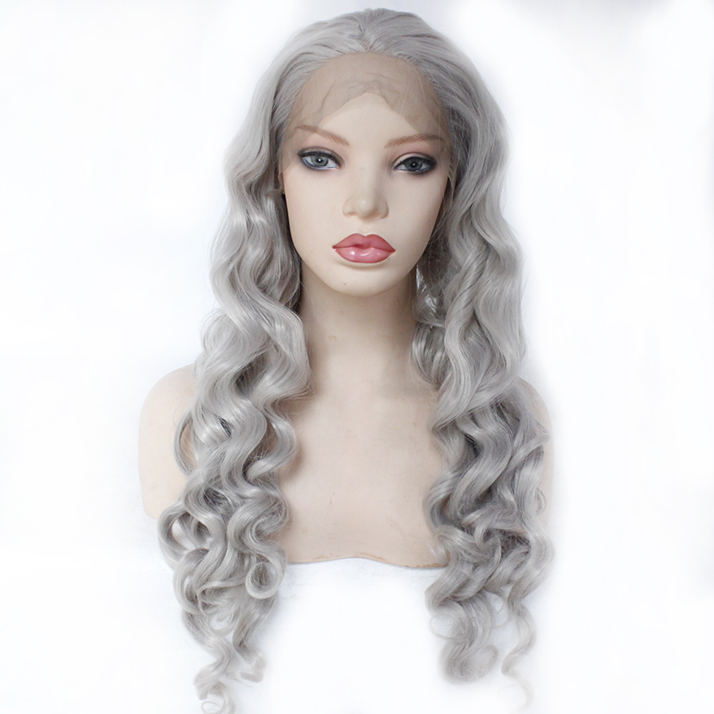 Synthetic Lace Front Wig Women s Loose Curly Reddish Grey Synthetic Hair Middle Part Wigs Natural