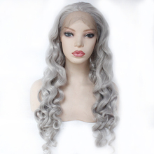 Synthetic Lace Front Wig Women's Loose Curly Reddish Grey Synthetic Hair Middle Part Wigs Natural Hairline Silver Grey Long Wig