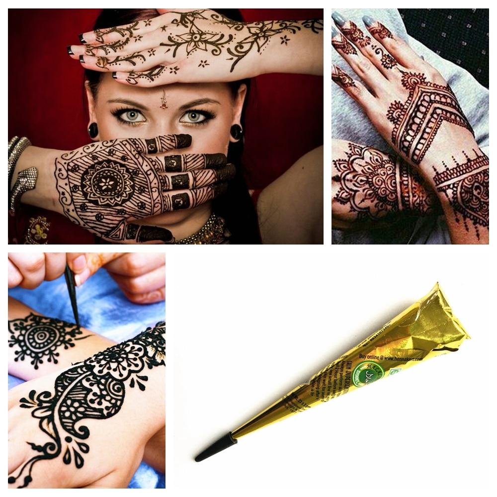 Bh1704 1 Piece Black Henna Cuff Tattoo With Flower Wrist: Mehndi Pure Indian Black Henna Tattoo Paste Temporary