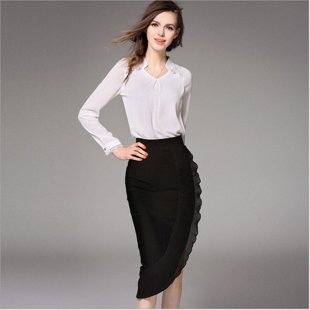 2 piece set women skirts and blouses 2016 Fall chiffon ...