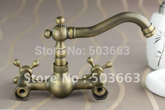 Wall Mounted Antique Brass Bathroom Faucet Kitchen Basin Sink Mixer Tap CM0135 Mixer Tap Faucet. цена