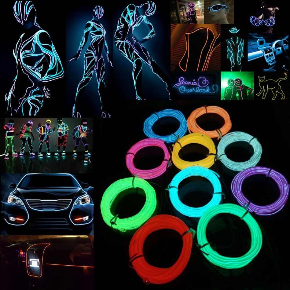 Cavo di incandescenza Legare di EL LED Al Neon di Ballo Festa di Natale FAI DA TE Costumi Abbigliamento Luminoso Auto Luce Vestiti Della Decorazione Palla Rave 1m/3m/5m