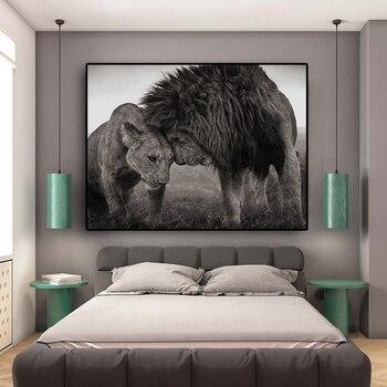 Lions cabeza a cabeza lienzo blanco y negro pintura carteles e impresiones Cuadros escandinavo pared arte imagen para la vida habitación