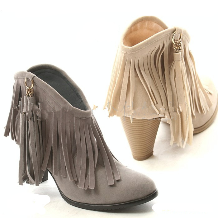 Woman Fashion Tassel Punk Fringe Ankle Boots Pointed Toe High ...