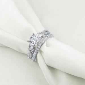 Image 2 - Newshe 2 Pcs Wedding Ring Set Trendy Jewelry 925 Sterling Silver 2.3 Ct Princess Cut  AAA CZ Engagement Rings For Women