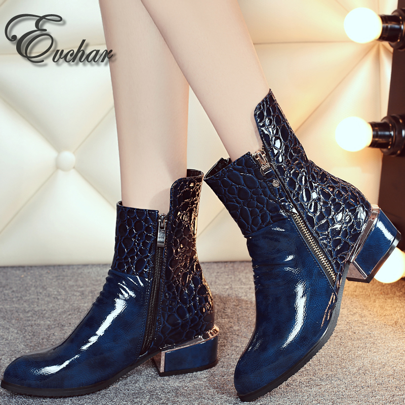 ФОТО side zipper woman boots PU leather boots woman pointed toe shoes woman riding med heels ankle short plush  boots big size 33-42
