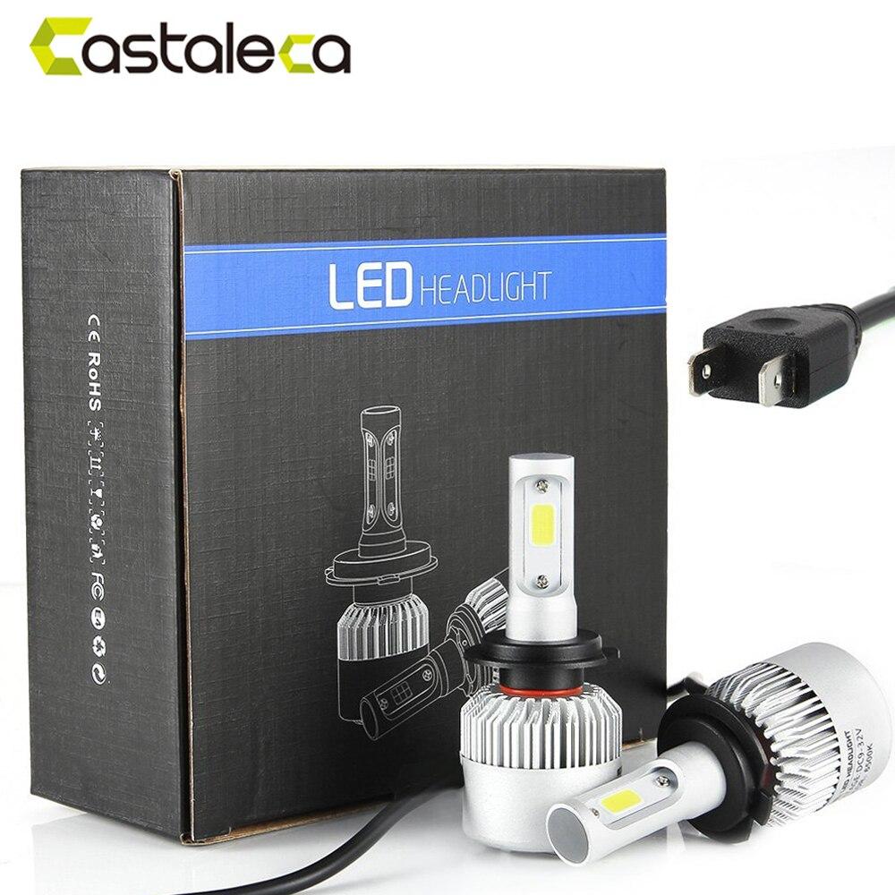 castaleca Super Bright 1 pair S2 Headlight Super Bright LED COB H1 H4 H7 H11 H13 H3 9004 9005 9007 Auto Headlamp