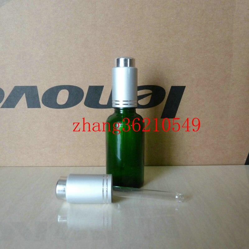 30 ml de vidro verde frasco de oleo essencial com a imprensa de aluminio prata fosco