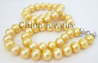 P7646 AA+ 17.5 10mm natural gold freshwater pearl necklace GP clasp