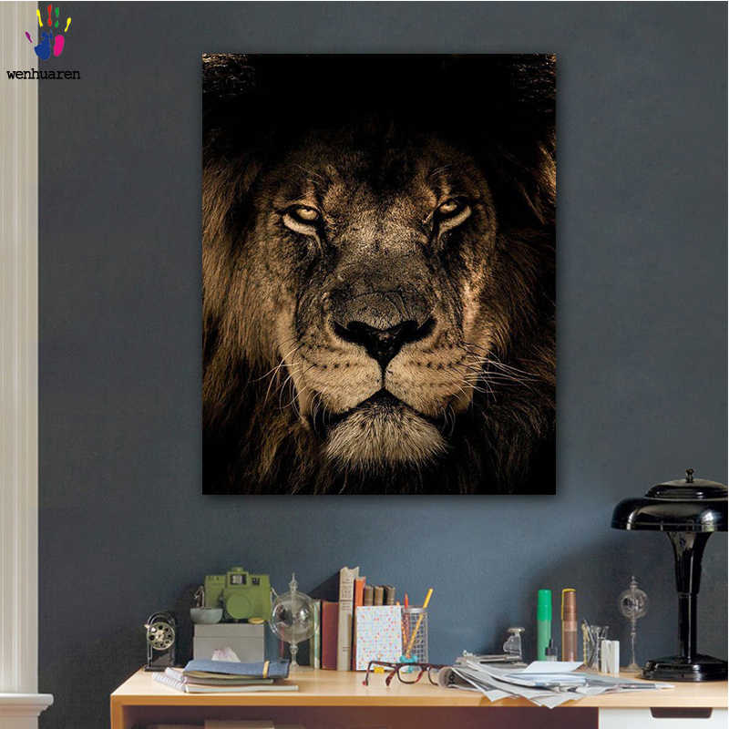DIY colorings pictures by numbers with colors The lionpicture drawing painting by numbers framed Home