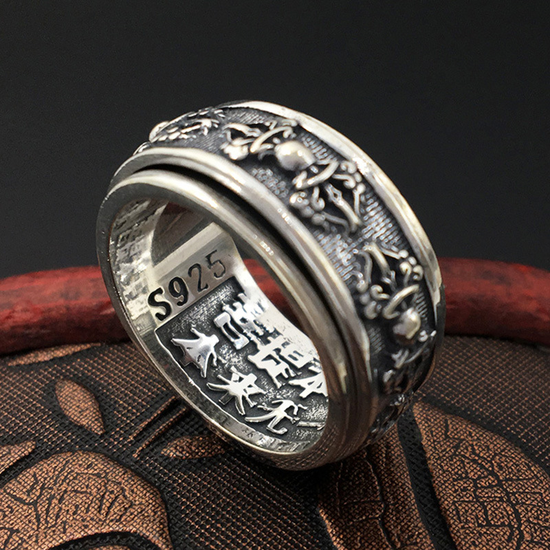S925 Sterling Silver Ornaments Handmade Retro Thai Silver Personalized Ring Men's King Kong Pestle Rotate Ring