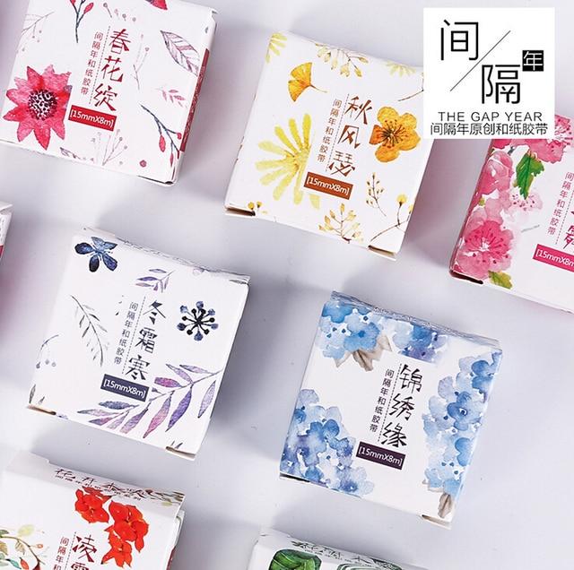 JF201  1.5cm Wide Various Blooming Flowers Washi Tape Adhesive Tape DIY Scrapbooking Sticker Label Masking Tape