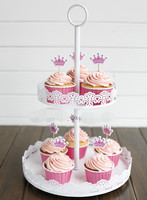 2 Tiers White Lace Iron Cake Stand Cupcake Holder Wedding Decoration Display Rack Dessert Fruit Plate