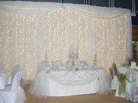 Белый 10FT (H) * 20ft (Ш) блестящие Ice Шелковый свадьба фон Шторы с Swag со светодиодной подсветкой для Свадебные украшения