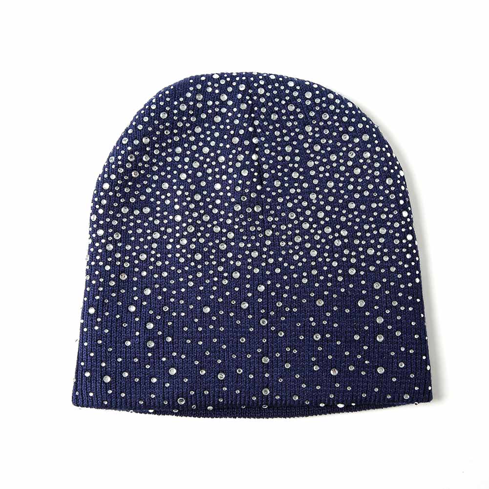 Autumn Winter Knitted Hat Crystal Warm   Beanie   Women Girl Casual Cap for Outdoor Activities TY66