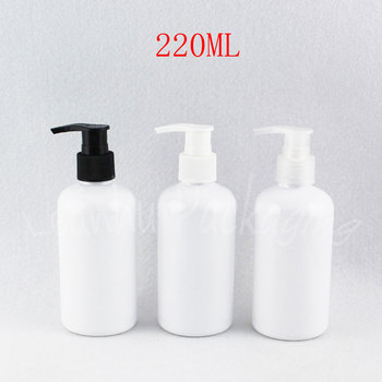 220ML White Round Shoulder Plastic Bottle , 220CC Makeup Sub-bottling , Shampoo / Lotion Packaging Bottle ( 24 PC/Lot )
