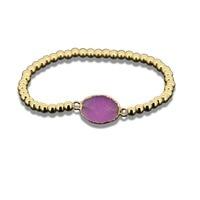 1 pcs 2017 color mix druzy cristal de quartzo pedra pingente de ouro cor mulheres pulseira charme 4mm rodada contas de cobres homens bacelet