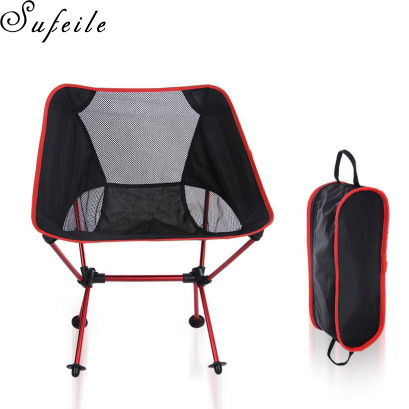 цена на SUFEILE Outdoor camping barbecue portable folding chair Ultra-light aluminum alloy moon chair Beach fishing chair S15D50