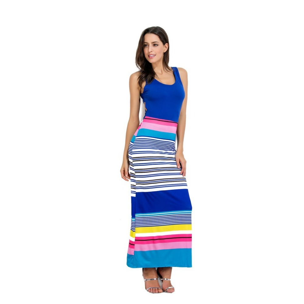 Women Striped Oversize Maxi Dress 2018 Summer Elastic Stretch Hip Female Rainbow Cross Backless Tank Long Dress