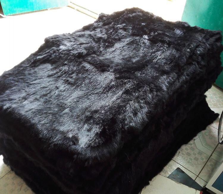 Zdfurs * 2018 Nieuwe Zwart Konijnenbont Tapijten Geverfd Konijnenbont Deken Real Rabbit Skin Real Konijnenbont Plaat Groothandel Custom Rijk En Prachtig