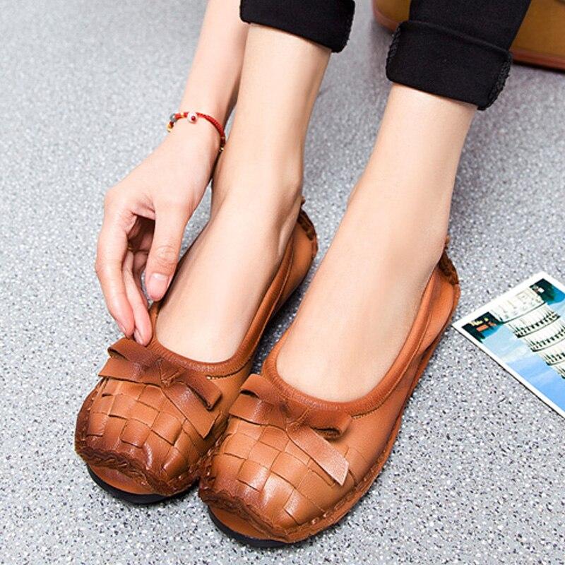 2017 új, kézzel készített női bőr cipő őszi íj nemzeti stílusú retro komfort lágy tehénbőr lapos cipő Zapatos Mujer