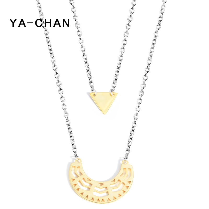 YA-CHAN New Boho Two layer Chain Necklace 925 Sterling Silver Jewelry Geometric Pendant Simple Multilayer Necklace Women Gift adriatica часы adriatica 3176 1111q коллекция twin