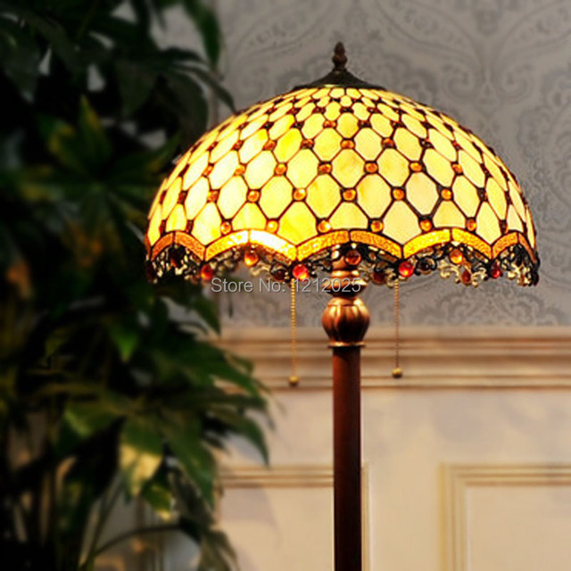 Retro Tiffany Style Beads Floor Lamp Living Room Bedroom Vintage Standing  Lamps Glass Shade Iron Base