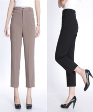 free shipping summer spring Thin linen ankle length trousers loose straight pants high waist plus size embroidery  women pants