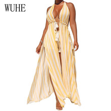 WUHE Yellow Striped 2 Pieces Sets Halter Long Top and Short Pants Sleeveless Hollow Out Playsuits Women Summer Beach Jumpsuits
