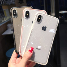 PPTANG Glitter Powder Phone Case XR XS Max X Transparent for iPhone 7 6 8 Plus 6S plus fashion phone cover bags