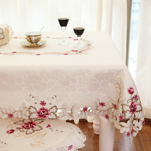 Europe Polyester Satin Jacquard Embroidery Floral Tablecloth Solid Color Embroidered Table Linen Cloth towel Cover Overlay
