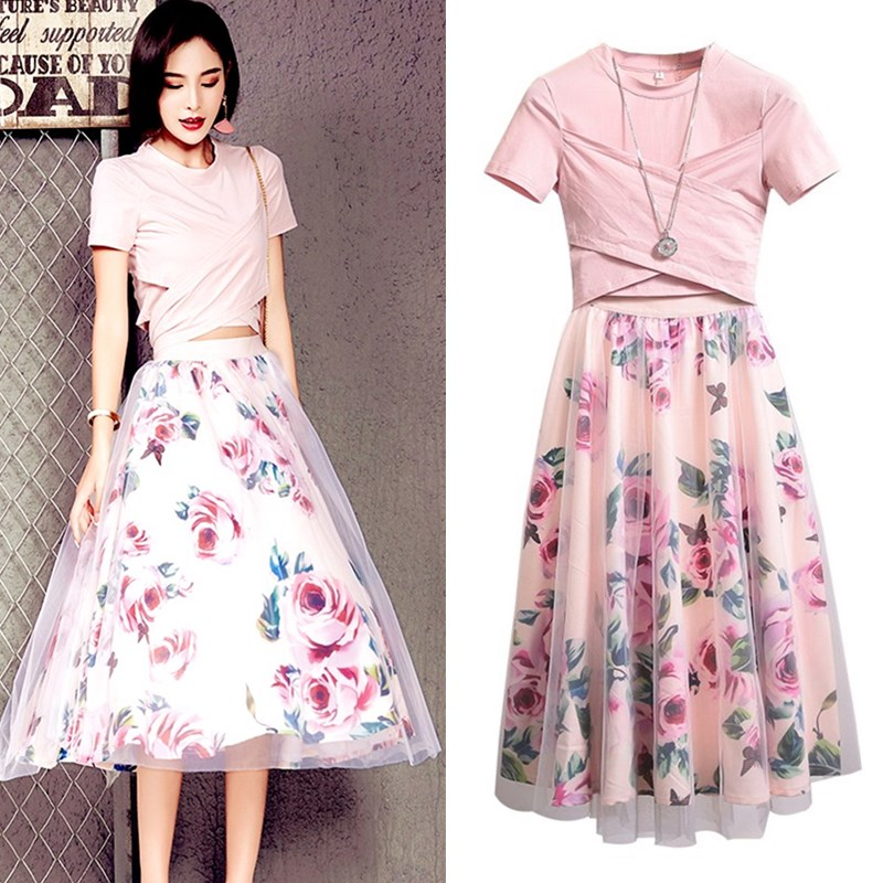Elegant Runway Designer Suit Set Women's Big Bows Pink Cotton Tees And Vintage Rose Floral Print Long Party Skirts Set CC005