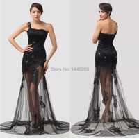 Sexy Black Lace One Shoulder Evening Dress See Through Skirt Floor Length Party Gown