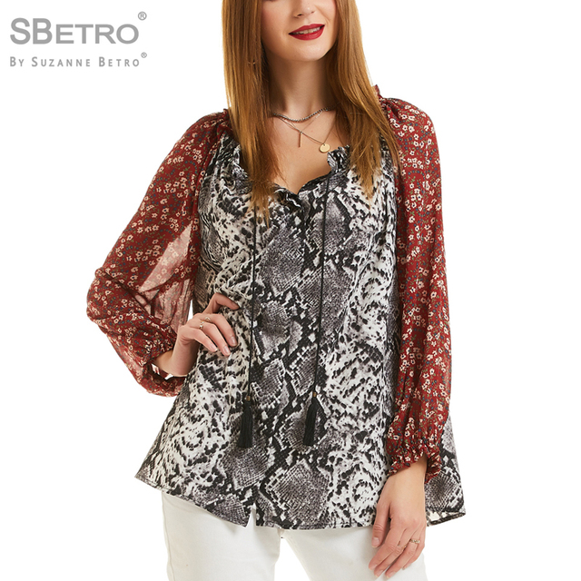 cac3537cbc SBetro Women's Ivory Snake Twin Print Chiffon Peasant Style Button Down  Blouse Tunic Top Red Floral Sleeve