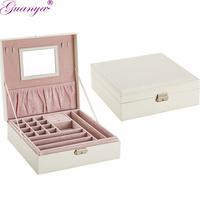 Guanya Brand Earings Ring Necklace Holder Packaging Case Jewelry Display Organizer Women Birthday Graduation Gift Box