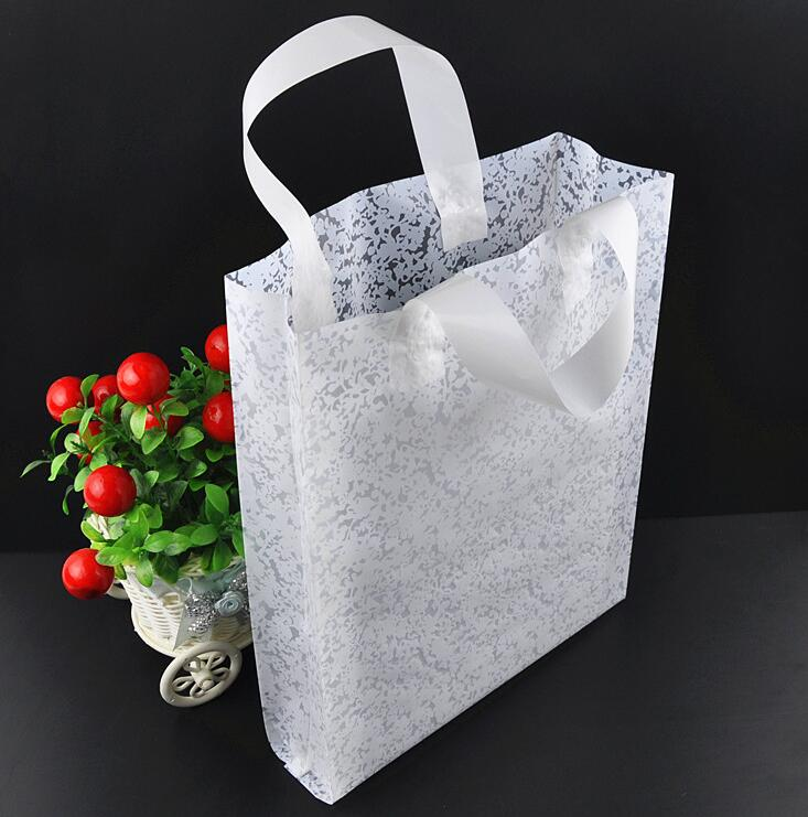 Alice, Wholesale 50pcs/lot White/Pink Flower Plastic Bag Shopping Jewelry Packaging Plas ...